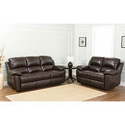 Abbyson Living Toscana Reclining Sofa and Loveseat - Espresso Brown