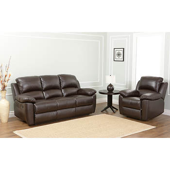 Abbyson Living Toscana Italian Leather Reclining Sofa and Armchair - Espresso Brown