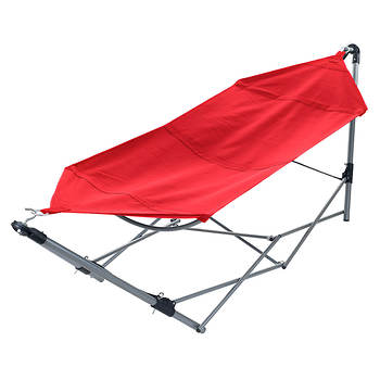 Portable Hammock with Frame Stand and Carrying Bag - Red