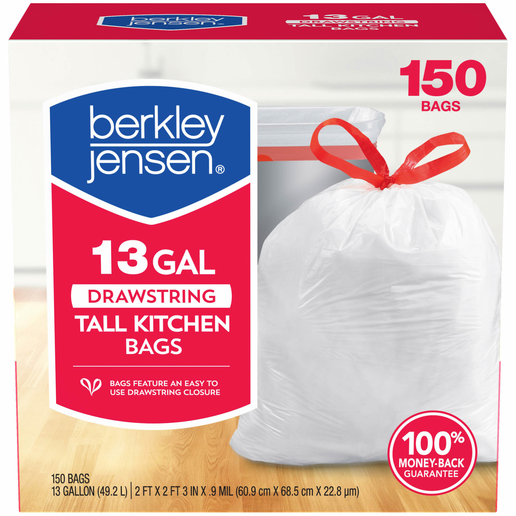 Berkley Jensen 13-Gal. 0.9mil Drawstring Kitchen Bags, 150 ct ...
