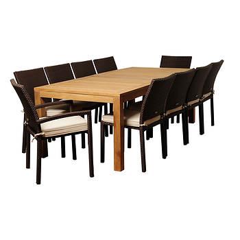 Amazonia Mirella 11-Pc. Teak & Synthetic Wicker Rectangular Patio Dining Set  - Natural/Off-White
