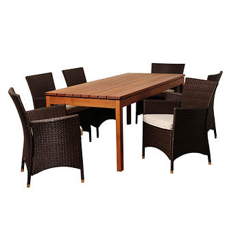Amazonia Ivo 7-Pc. Eucalyptus & Synthetic Wicker Rectangular Patio Dining Set  - Natural/Off-White