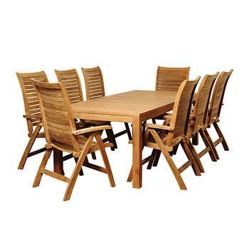 Amazonia Gennaro 9-Pc. Teak Rectangular Patio Dining Set - Natural