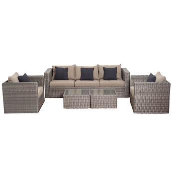 Atlantic Mumbai 5-Pc. Synthetic Wicker Patio Seating Set - Distressed Gray/Brown