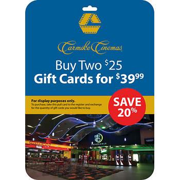 $25 Carmike Cinemas Gift Card, 2 pk.