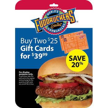 $25 Fuddruckers Gift Card, 2 pk.