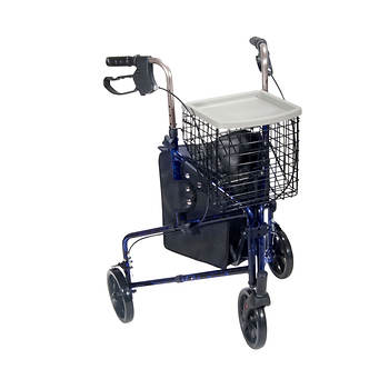 Drive Medical 3-Wheel Rollator Walker with Basket Tray and Pouch - Flame Blue