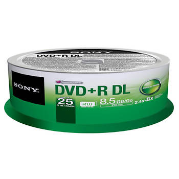 Sony DVD+R Dual Layer Recordable Blank Discs, 25 pk.