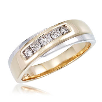 Men's .25 ct. t.w. Diamond Slant Band in 14k Two-Tone Gold