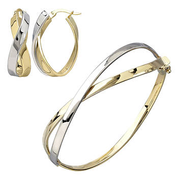 Two-Tone Bypass Hoop Earrings and Bracelet Set