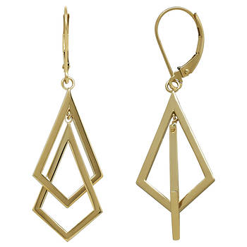 Sterling Silver Gold-Plated Interlocked Double Triangle Earrings