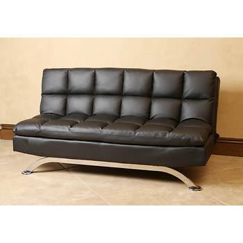 Abbyson Living Madison Black Leather Euro Lounger Sofa - Black