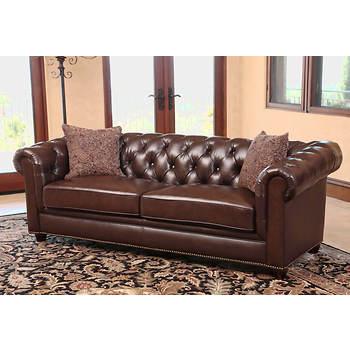 Abbyson Living Jazmin Chesterfield Sofa - Dark Brown