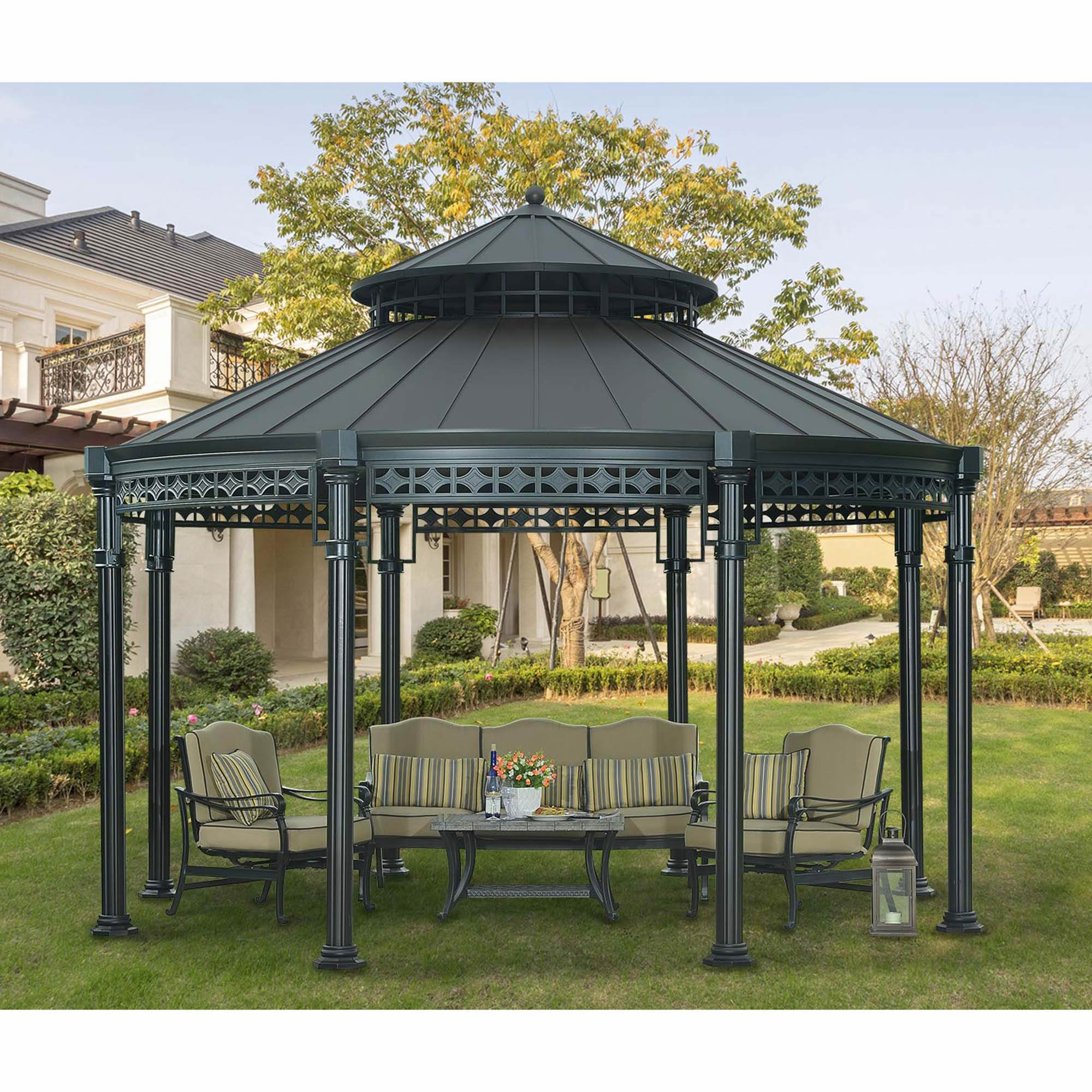 sunjoy windsor round gazebo black bj 39 s wholesale club. Black Bedroom Furniture Sets. Home Design Ideas