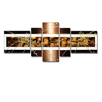 """Design Art Textured Brown Abstract 5-Pc. Oversized Oil Painting, 67"""" x 30"""""""