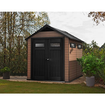Keter Fusion 7.5' x 9' Outdoor Storage Shed - Mahogany