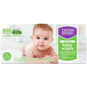 Berkley Jensen Green Tea & Cucumber Baby Wipes, 800 ct.