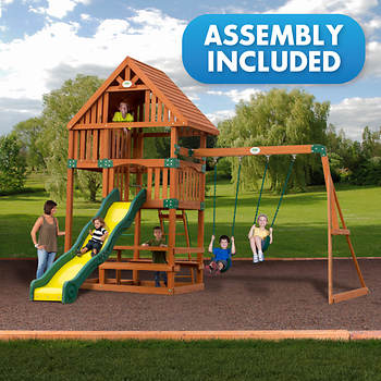 Backyard Discovery Rockport All Cedar Swing Set - Assembly Included