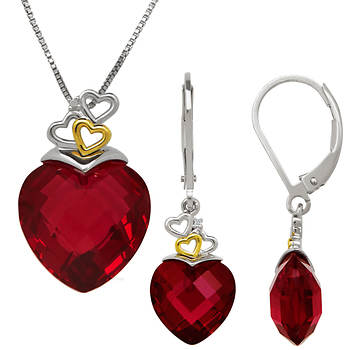 39.43 ct. t.w. Created Ruby and Diamond 2-Pc. Box Set in Two-Tone