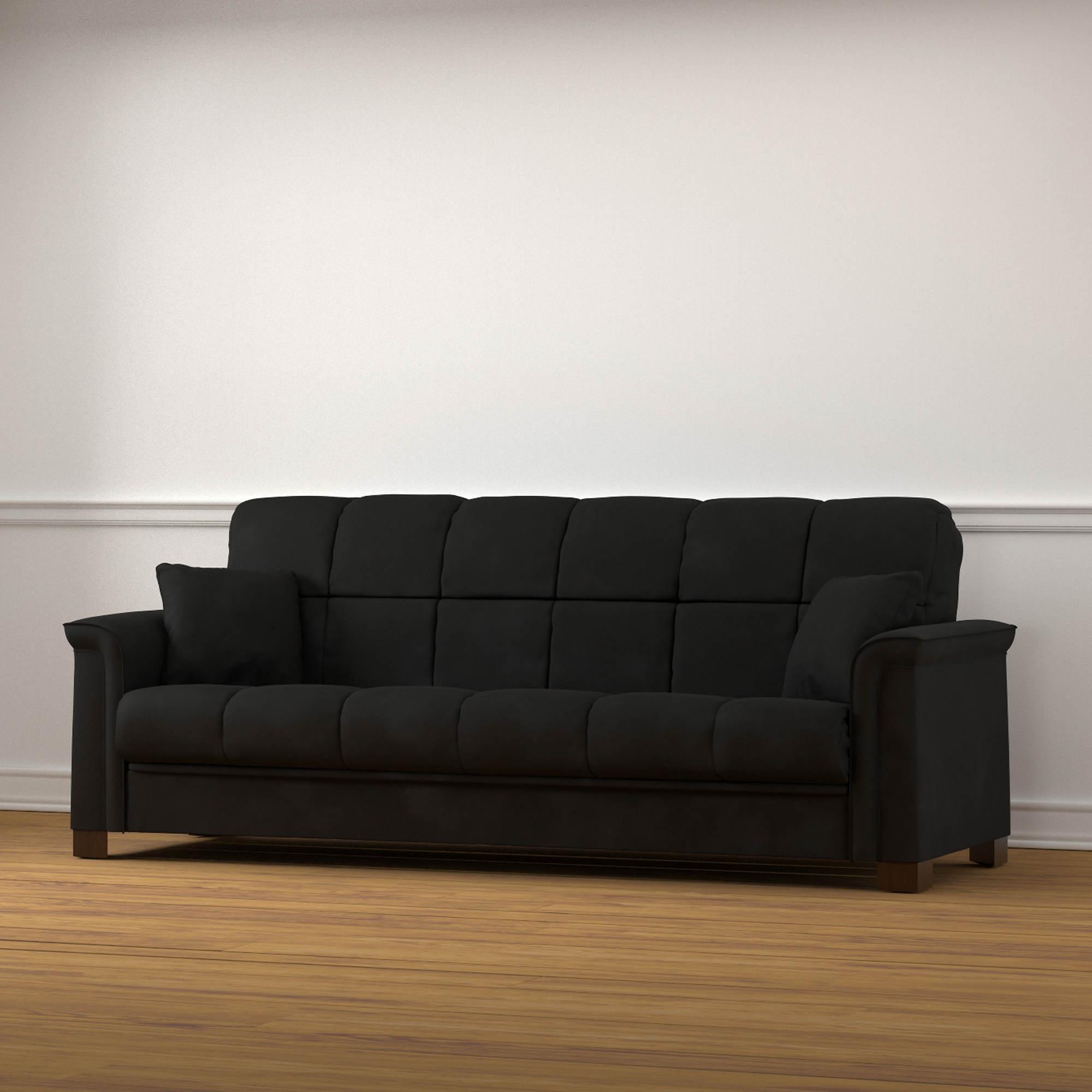 Handy Living Caroline Convert-A-Couch Sleeper Sofa - Black ...