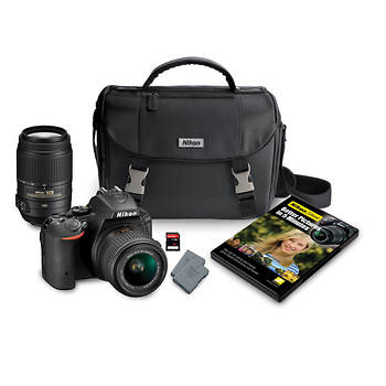Nikon D5500 24.2MP CMOS Wi-Fi Digital DSLR Camera with DX NIKKOR 18-55mm and 55-300mm VR Lens, 32GB SD, Case