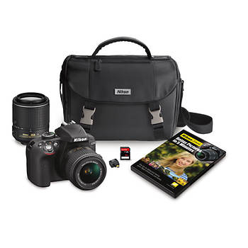 Nikon D3300 24.2MP CMOS Digital DSLR Camera with DX NIKKOR 18-55mm and 55-200mm VR Lens, Wi-Fi adapter, 32GB SD, Case