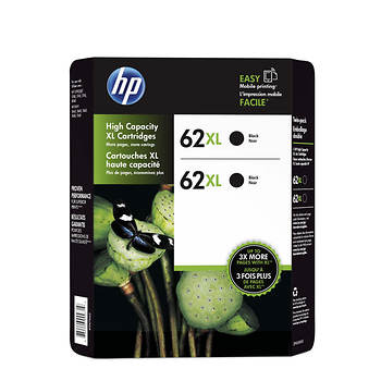 HP 62XL Black Ink Cartridges, 2 pk.