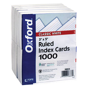 "Oxford Ruled White Index Cards, 3"" x 5"", 1,000 ct."