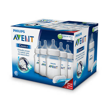 Avent Classic+ Baby Bottles with Brush, 5 pk.