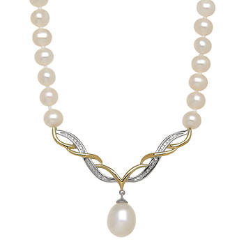Ocean Treasures .78 ct. t.w. Diamond and 8-10mm Cultured Freshwater Pearl Strand in Two-Tone
