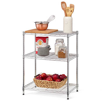 Home Storage Space 3-Shelf Wire Rack - Chrome