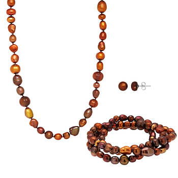 Ocean Treasures by Honora 5mm-9mm Chocolate Cultured Freshwater Pearl 3-Pc. Set