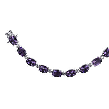 12.00 ct. t.w. Amethyst and Diamond Accent Tennis Bracelet in Sterling Silver