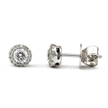 .50 ct. t.w. Round Diamond Solitaire Halo Stud Earrings in 14k White Gold