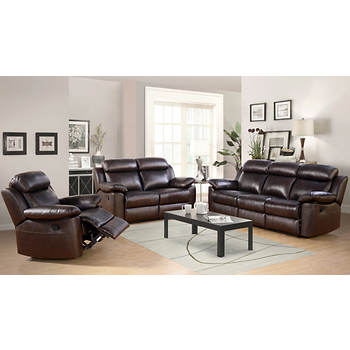 Abbyson Living Braylen 3-Pc. Leather Reclining Set