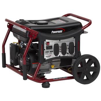 Powermate Gas Portable Generator, 3,250 Running Watts, 4,050 Peak Watts
