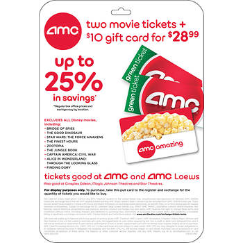 AMC Movie Ticket, 2 pk. with $10 Concessions Gift Card