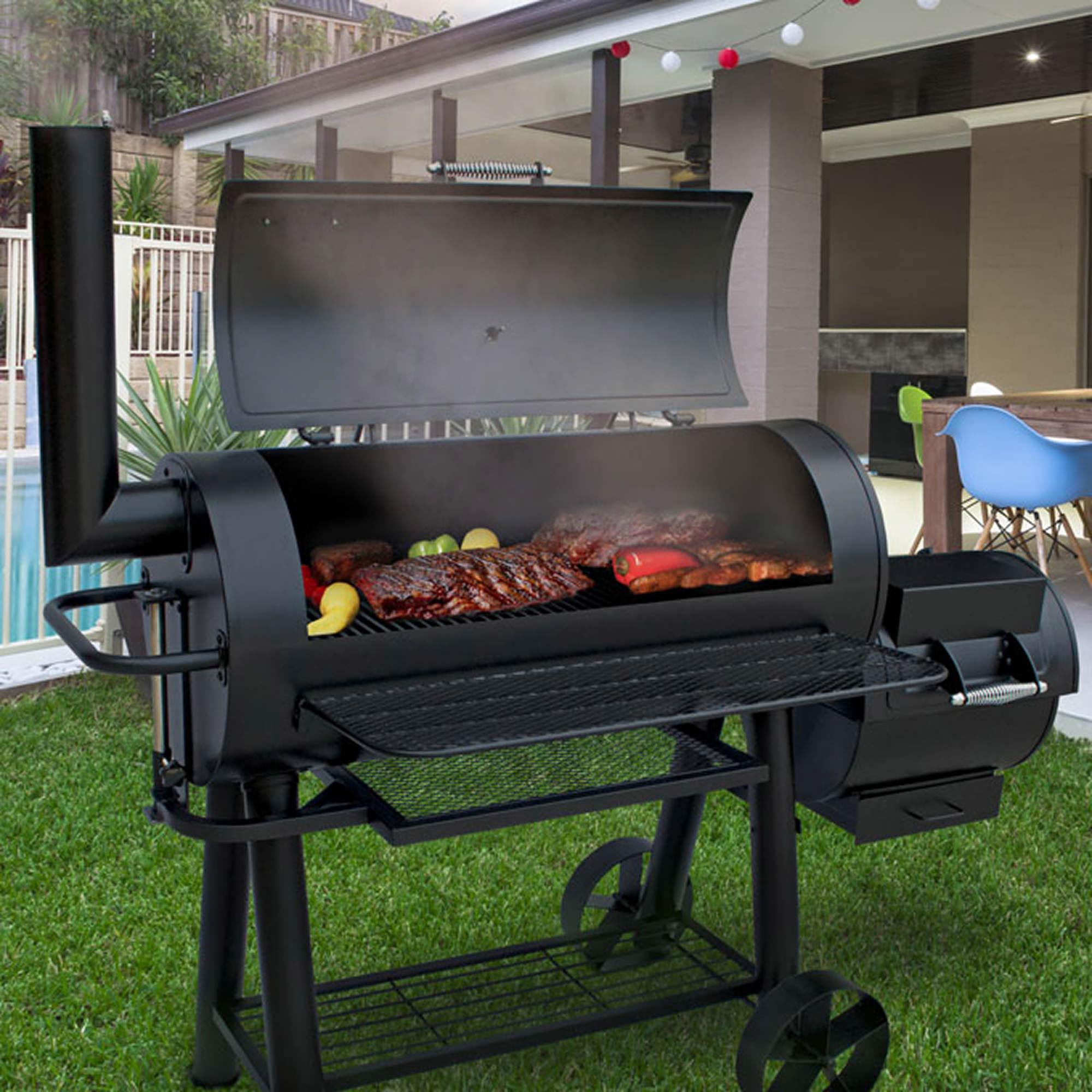 landmann charcoal barrel grill with offset smoker bj 39 s. Black Bedroom Furniture Sets. Home Design Ideas