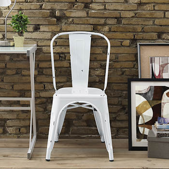 Walker Edison Metal Cafe Chair - Antique White