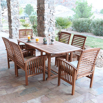 Walker Edison 7-Pc. Acacia Wood Dining Set - Natural