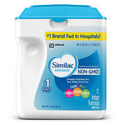 Similac Advance Non-GMO OptiGRO Stage 1 Powder Infant Formula, 34 oz.