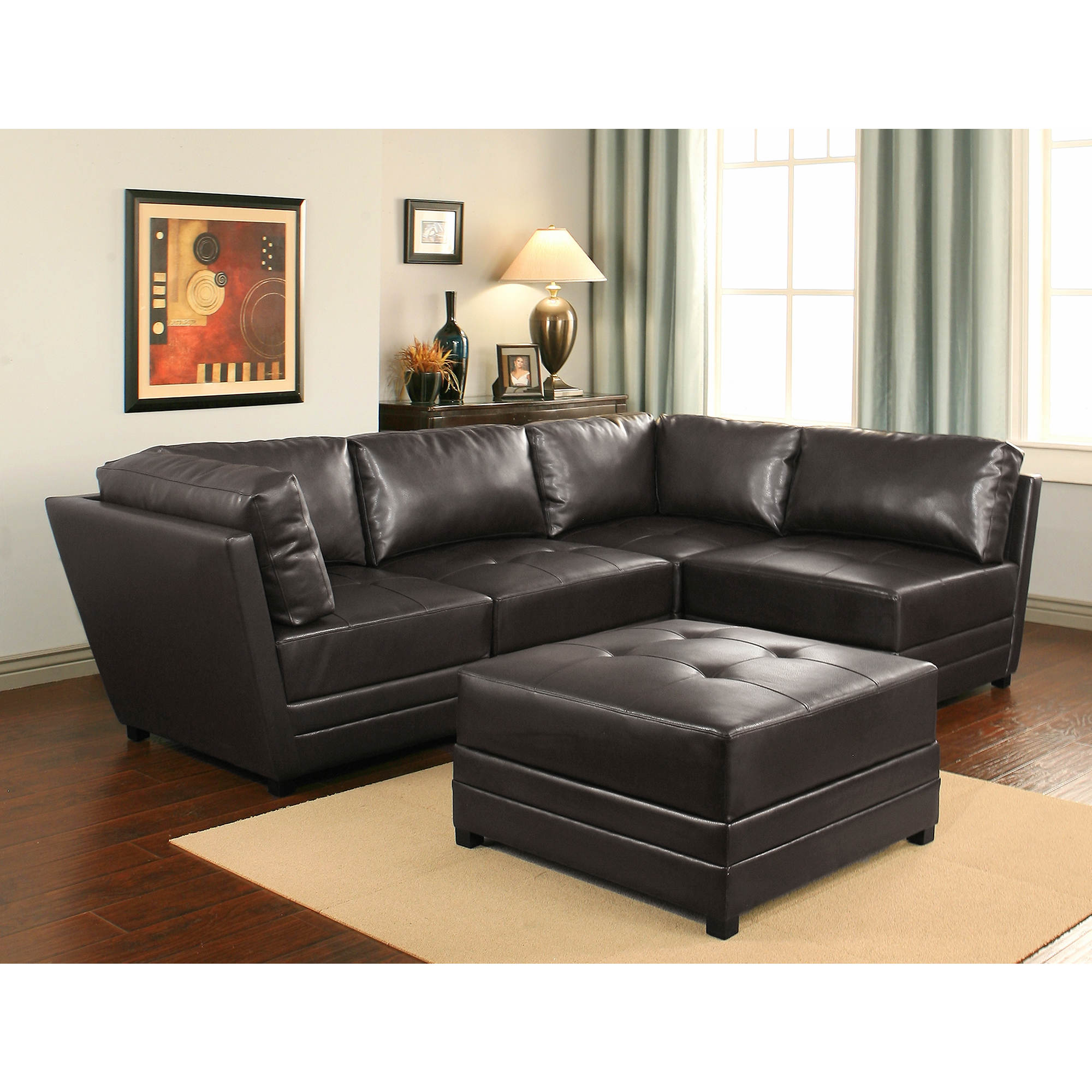 Abbyson Living Lowell 5-Pc. Leather Modular Sectional