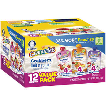 Gerber Graduates Grabbers Fruit & Yogurt Pouches, 12 ct./4.23 oz.