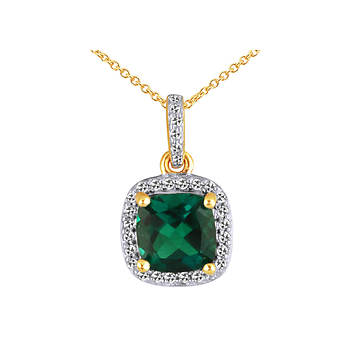 .09 ct. t.w. Created Emerald and Diamond Pendant in 14k Yellow Gold