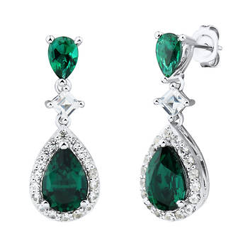 Created Emerald with Created White Sapphire Earrings in Sterling Silver