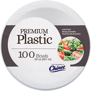 Chinet Plastic Bowls, 20 oz., 100 ct. - White