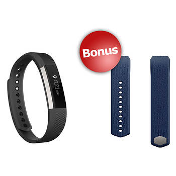Fitbit Alta Activity Tracker in Black with Bonus Blue Band - Large