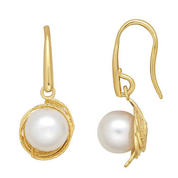 7-8mm Cultured Freshwater Pearl Birds' Nest Pearl Earrings in 14k Yellow Gold