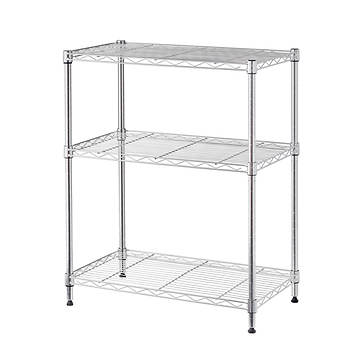 Home Storage Space 3-Shelf Wire Rack, 2 pk. - Chrome