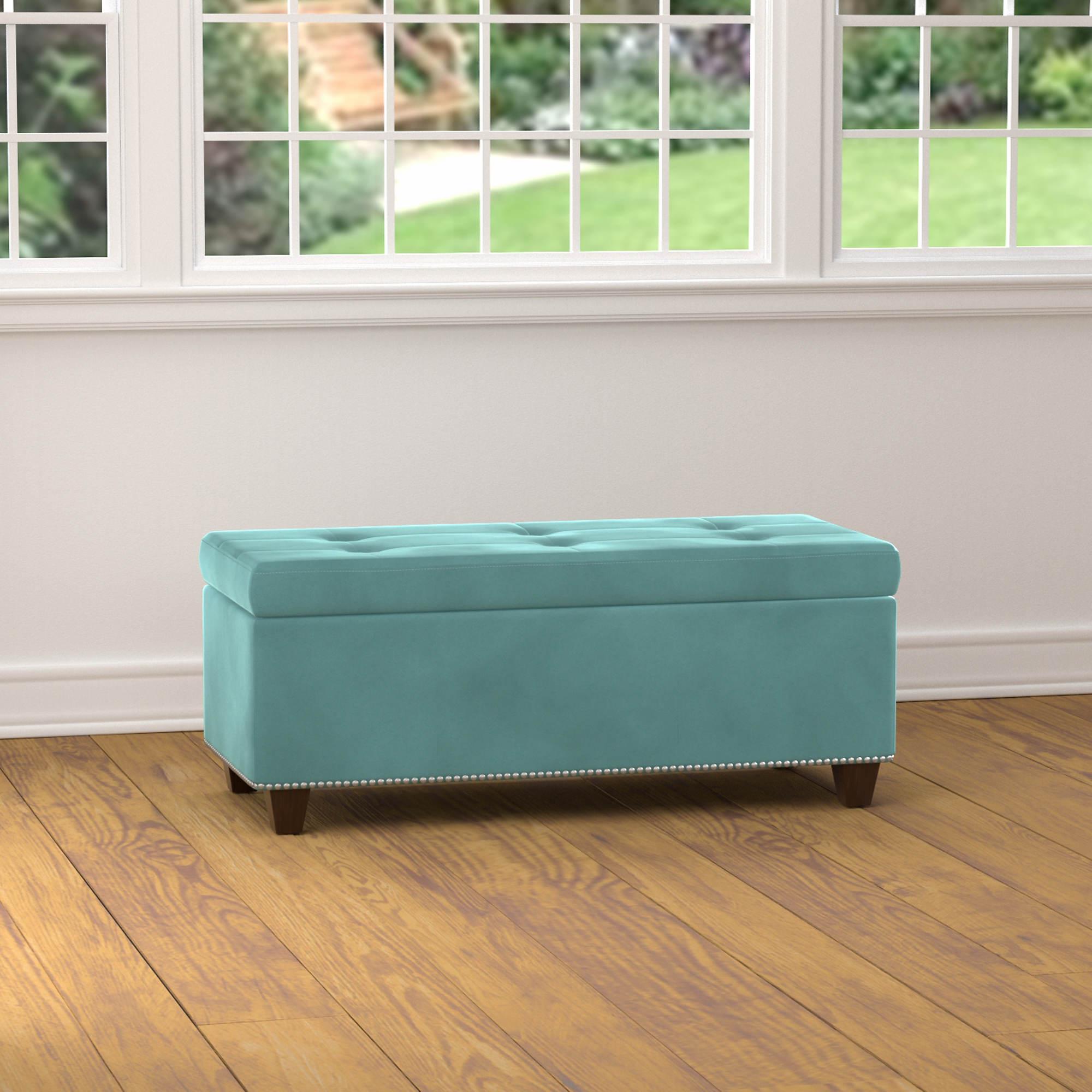 Handy Living Storage Ottoman Bench Turquoise Velvet Bj
